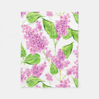 Cobertor De Velo Flores cor-de-rosa do lilac da aguarela