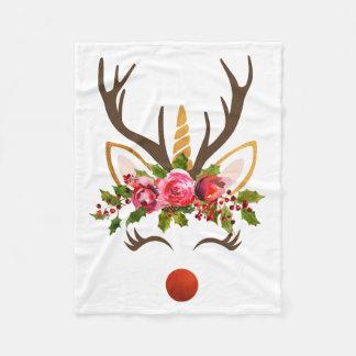Cobertor De Velo Flores do Antler/Natal da rena do unicórnio