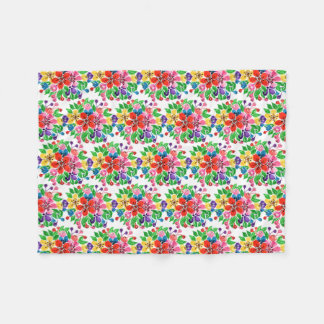 Cobertor De Velo Flores do arco-íris da aguarela