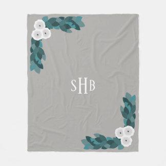 Cobertor De Velo Flores e folha brancas do ranúnculo com iniciais
