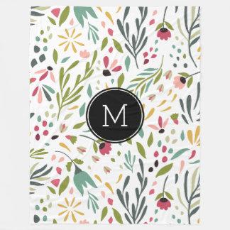 Cobertor De Velo Flores & folhas botânicas coloridas Monogrammed