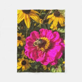 Cobertor De Velo Flores vívidas com abelha