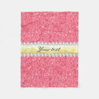 Cobertor De Velo Folha e diamantes cor-de-rosa de ouro dos Sequins