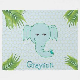 Cobertor De Velo Folhas de palmeira verdes Balmy do monograma