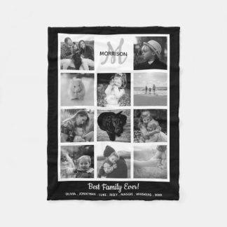 Cobertor De Velo Foto branca preta da colagem 11 da foto do
