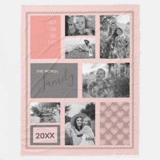 Cobertor De Velo Fotos de família ID469 cor-de-rosa dos corações do