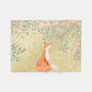 Cobertor De Velo Fox com borboletas e as flores cor-de-rosa