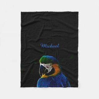 Cobertor De Velo Fractal azul do papagaio de Digitas