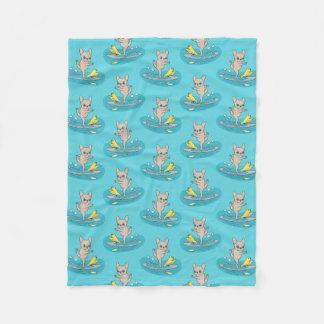 Cobertor De Velo Frenchie que faz a ioga no conselho de pá de pé