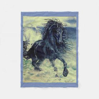 Cobertor De Velo Frisão, o garanhão preto da beleza, mar tormentoso
