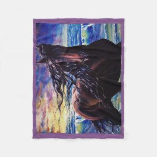 Cobertor De Velo Frisão, o garanhão preto da beleza, oceano do por