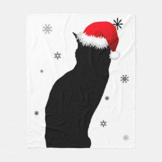 Cobertor De Velo Gato do Natal com a cobertura do velo da neve