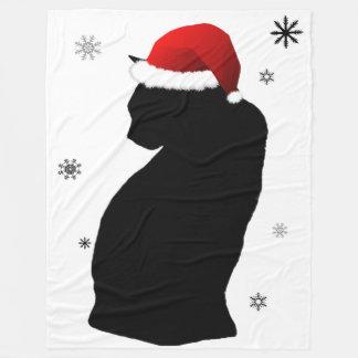 Cobertor De Velo Gato do papai noel com a cobertura do velo da neve