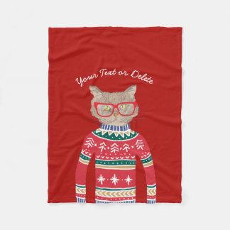 Cobertor De Velo Gato engraçado que veste o vermelho feio da