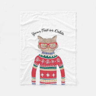 Cobertor De Velo Gato engraçado que veste vidros, camisola feia do