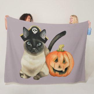 Cobertor De Velo Gato Siamese do Dia das Bruxas com a lanterna de