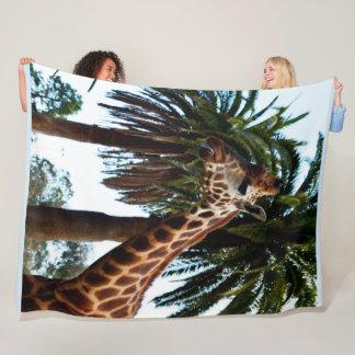 Cobertor De Velo Girafa engraçado que funde uma framboesa, grande