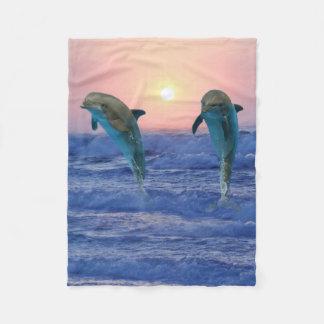 Cobertor De Velo Golfinho de Bottlenose no nascer do sol