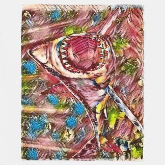Cobertor De Velo Grande arte da aguarela do tubarão branco