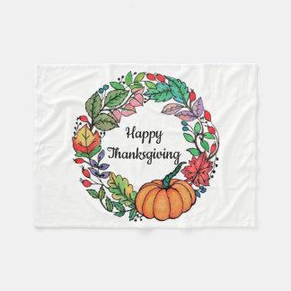 Cobertor De Velo Grinalda bonita da abóbora da aguarela com folhas