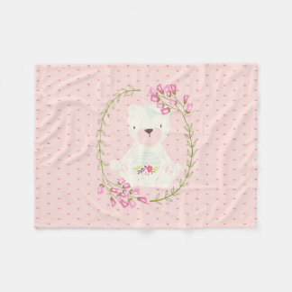 Cobertor De Velo Grinalda floral e corações do urso bonito