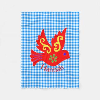 Cobertor De Velo Guingão azul e cobertura vermelha do velo do