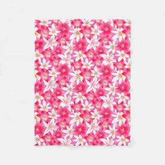 Cobertor De Velo Hibiscus branco e cor-de-rosa floral