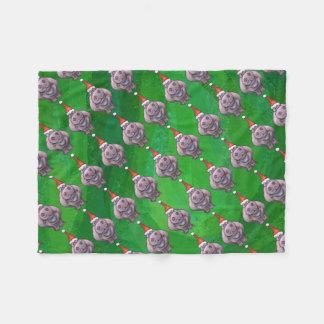 Cobertor De Velo Hipopótamo no teste padrão do chapéu do papai noel