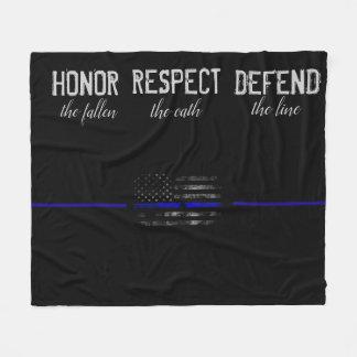 Cobertor De Velo Honra. Respeito. Defenda. Blue Line cobre