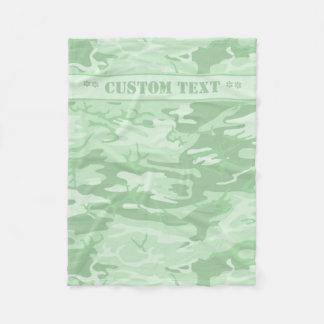 Cobertor De Velo Hortelã Camo verde com texto feito sob encomenda