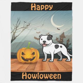 Cobertor De Velo Howloween feliz Staffordshire bull terrier