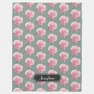 Cobertor De Velo Ilustração da aguarela do rosa do rosa com nome