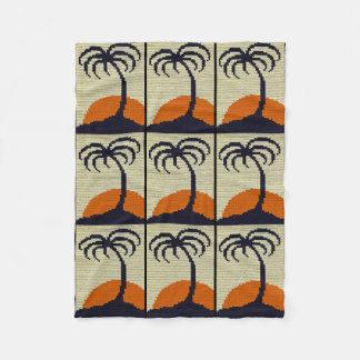Cobertor De Velo Impressão alaranjado do Crochet do por do sol da