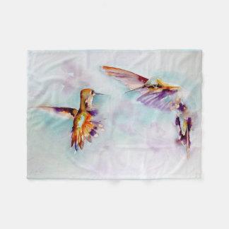 """Cobertor De Velo """"Impressão do colibri da dança crepuscular"""""""