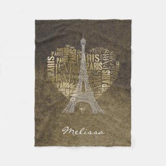 Cobertor De Velo Inscrição Paris do ouro da torre Eiffel | no