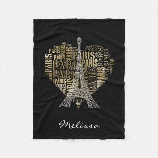 Cobertor De Velo Inscrição Paris do ouro da torre Eiffel   no