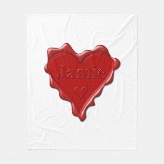 Cobertor De Velo Jamie. Selo vermelho da cera do coração com Jamie