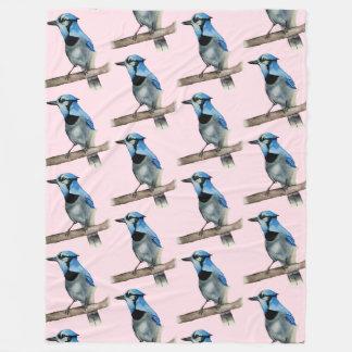 Cobertor De Velo Jay azul na pintura da aguarela do ramo