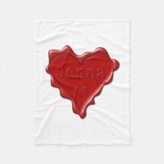 Cobertor De Velo Jenna. Selo vermelho da cera do coração com Jenna
