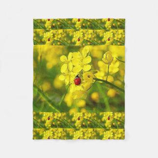 Cobertor De Velo Joaninha amarelo do vermelho da boa sorte da flor