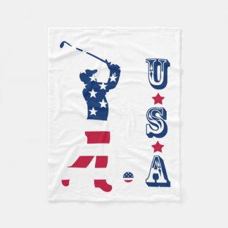 Cobertor De Velo Jogador de golfe da bandeira de América do golfe