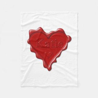 Cobertor De Velo Katie. Selo vermelho da cera do coração com Katie