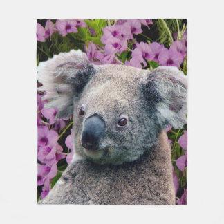 Cobertor De Velo Koala e orquídeas