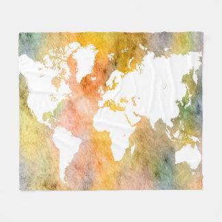 Cobertor De Velo Laranja do mapa do mundo do design 63