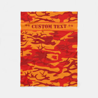 Cobertor De Velo Lava Camo vermelho com texto feito sob encomenda