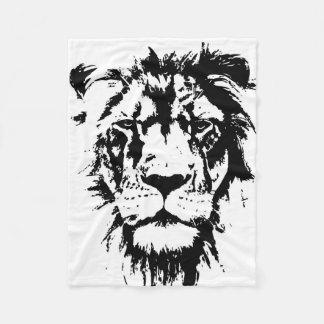 Cobertor De Velo leão preto e branco do impressão