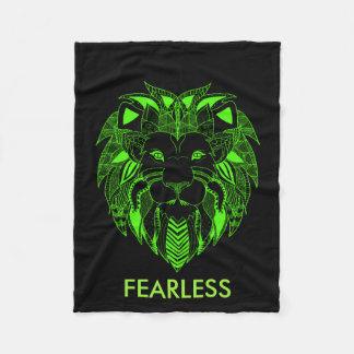 Cobertor De Velo Leão verde e preto fluorescente com texto feito