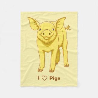Cobertor De Velo Leitão bonito porco dia do 17 de julho amarelo