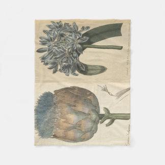 Cobertor De Velo Lírio & alcachofra azuis