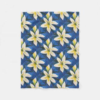 Cobertor De Velo Lírio branco no azul por Jane